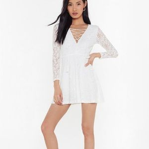 Nasty Gal White Lace-Up Dress (Size: L)